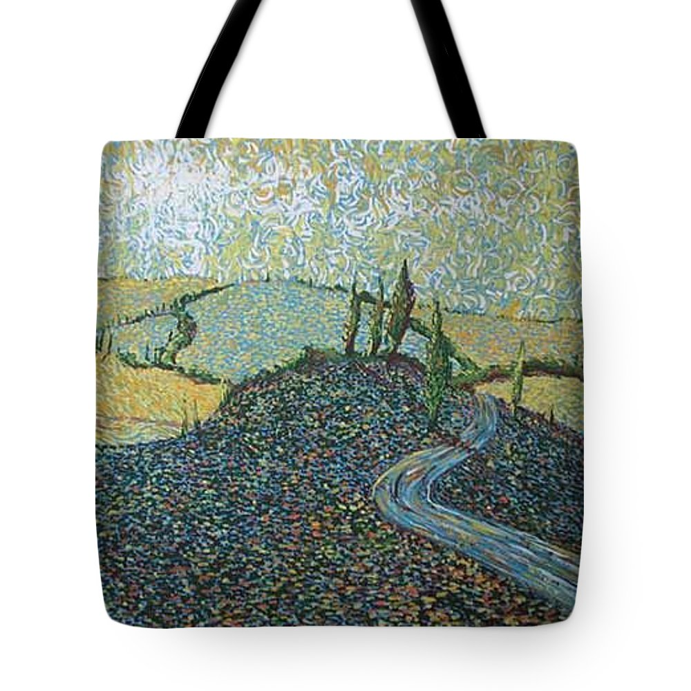 Landscape Tote Bag featuring the painting Road To Tuscany by Stefan Duncan