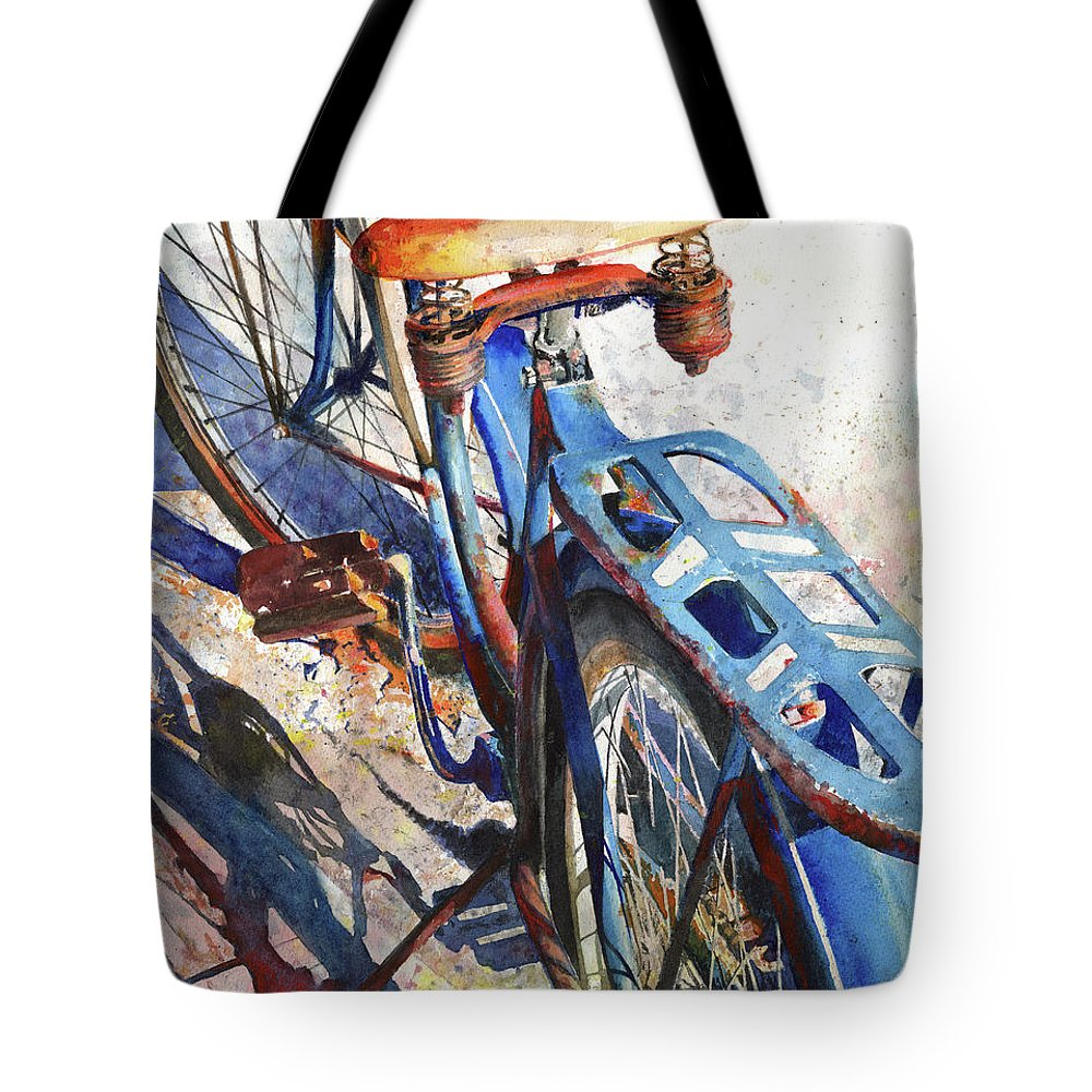 Bicycle Tote Bag featuring the painting Roadmaster by Andrew King