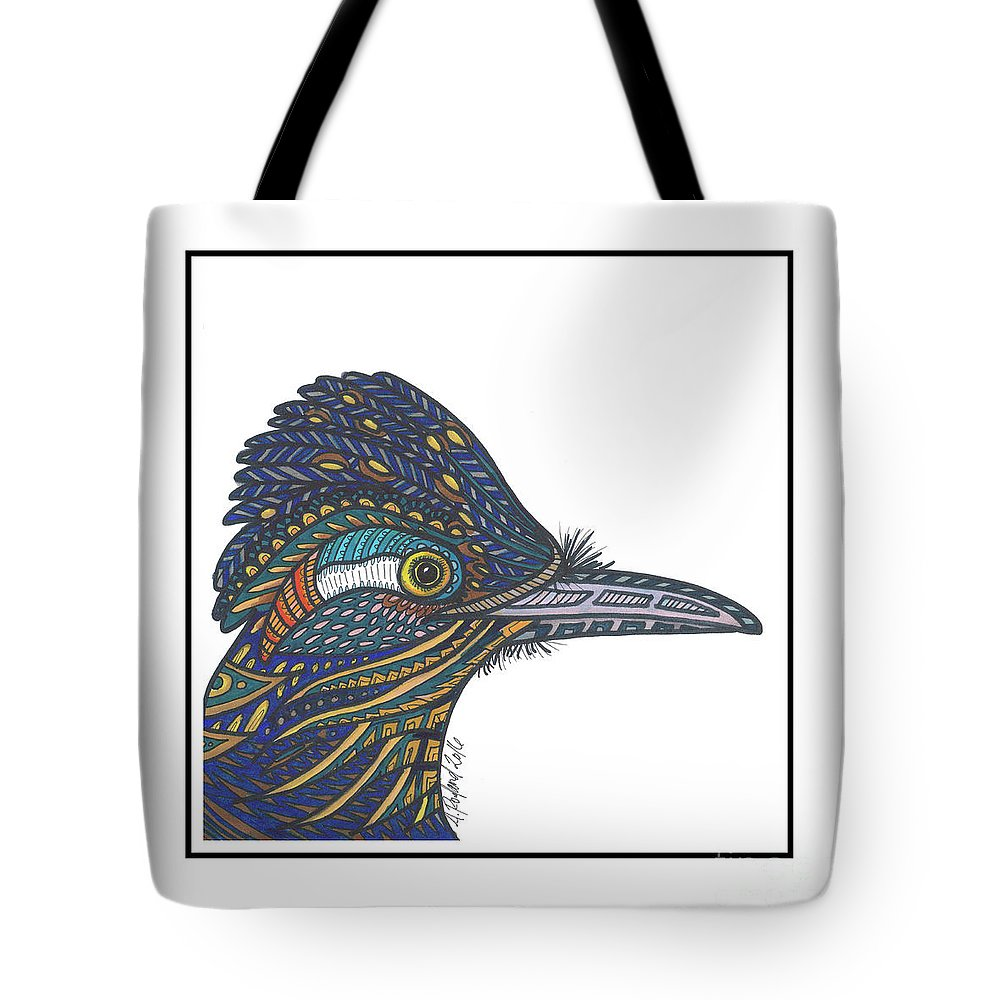 Tote Bag featuring the drawing Roadrunner #50 by Allie Rowland