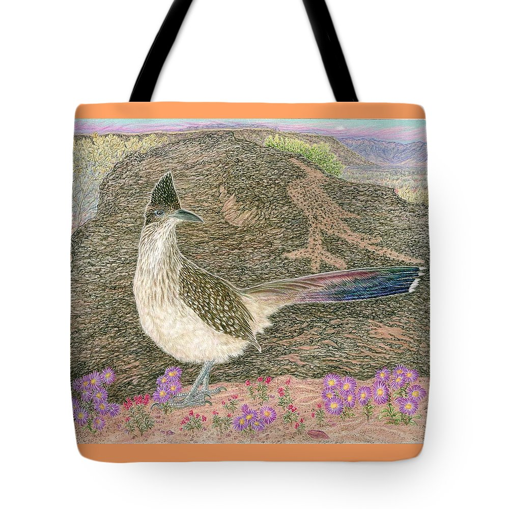 Roadrunner Tote Bag featuring the drawing Roadrunner by Tim McCarthy