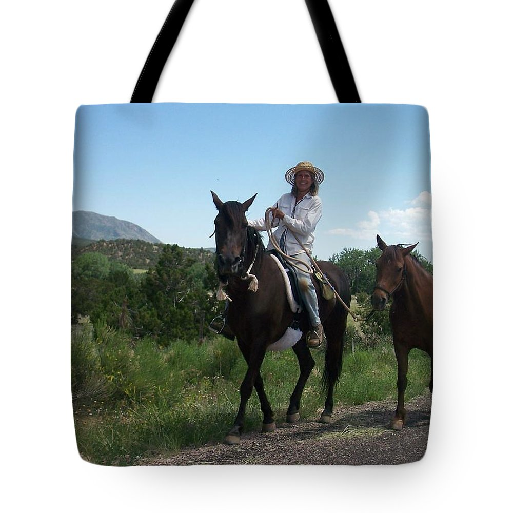 Horses Tote Bag featuring the photograph Roadside Horses by Anita Burgermeister