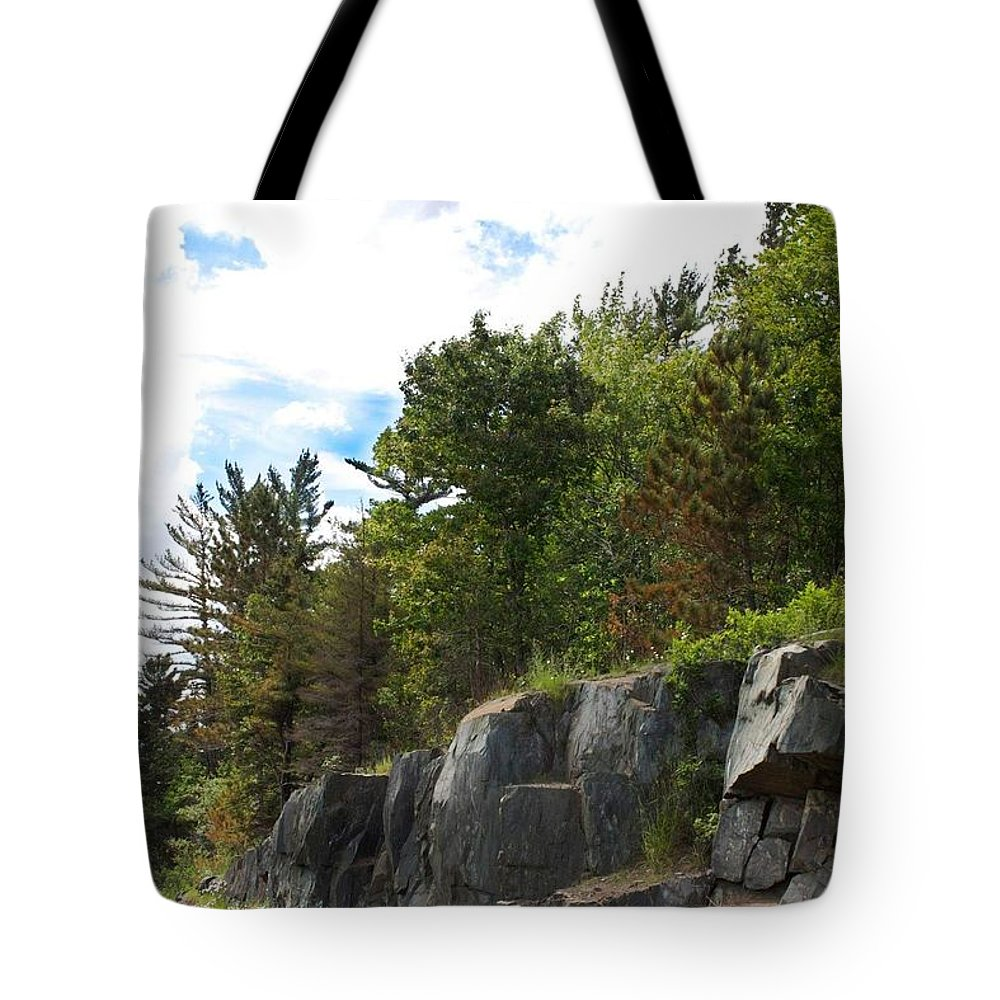 Rocks Tote Bag featuring the photograph Roadside Rocks by Kendall Tabor