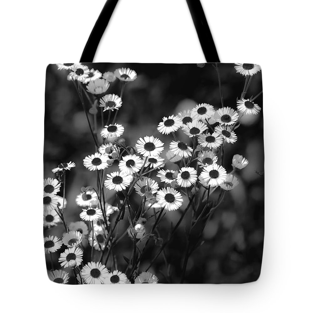 Black And White Tote Bag featuring the digital art Roadside Wildflowers by DigiArt Diaries by Vicky B Fuller