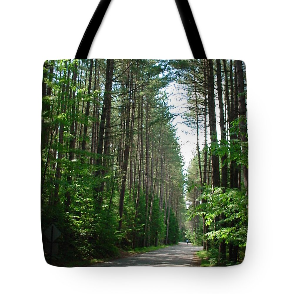 Fish Creek Tote Bag featuring the photograph Roadway At Fish Creek by Jerrold Carton