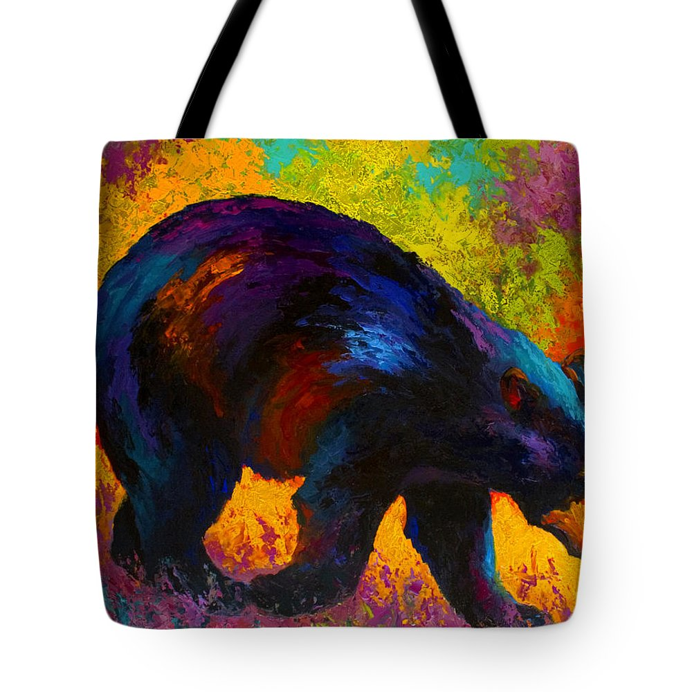 Bear Tote Bag featuring the painting Roaming - Black Bear by Marion Rose