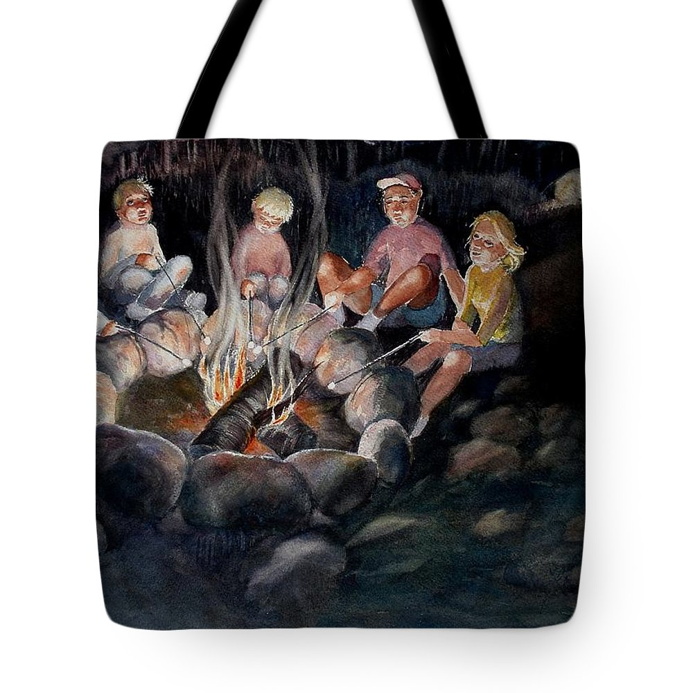 Family Tote Bag featuring the painting Roasting Marshmallows by Marilyn Jacobson