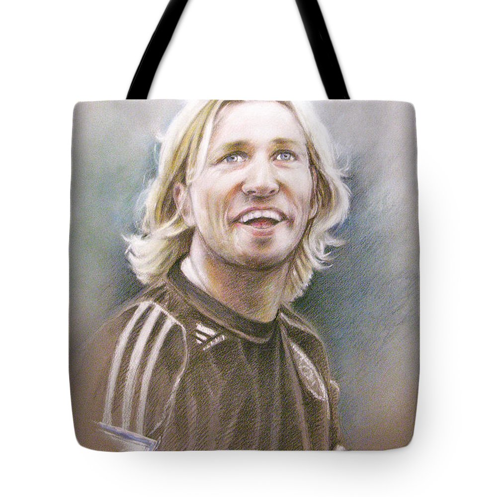 Pastel Portrait Tote Bag featuring the painting Robbie Savage by Miki De Goodaboom
