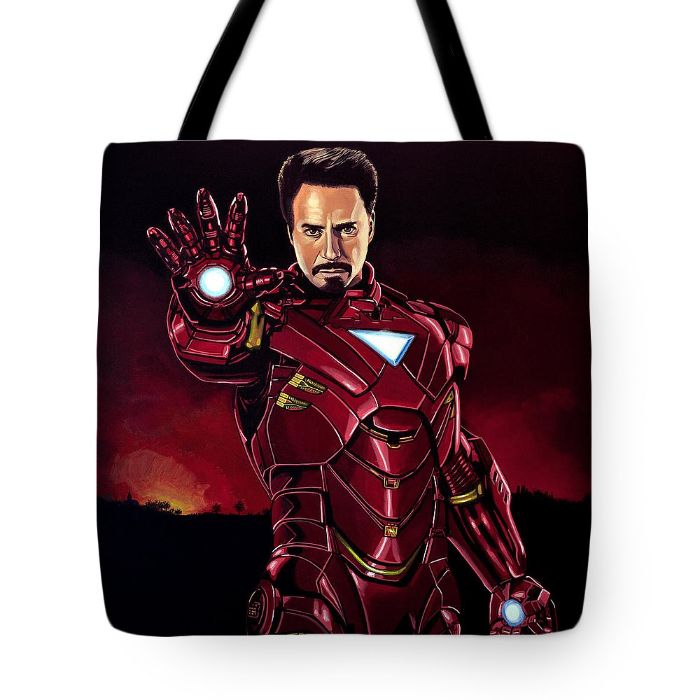 Iron Man Tote Bag featuring the painting Robert Downey Jr. As Iron Man by Paul Meijering