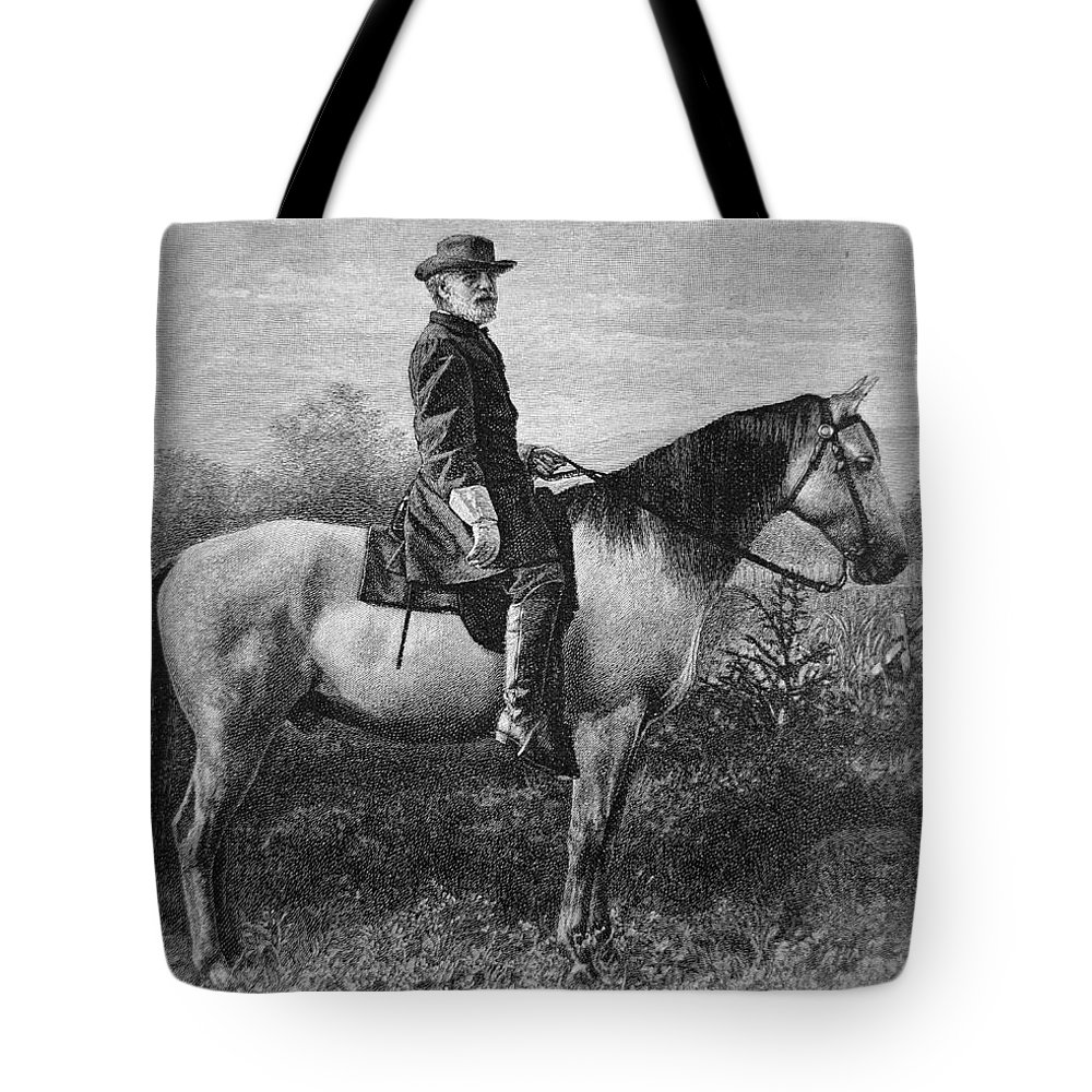 Robert E Lee Tote Bag featuring the drawing Robert E Lee On His Horse Traveler by American School
