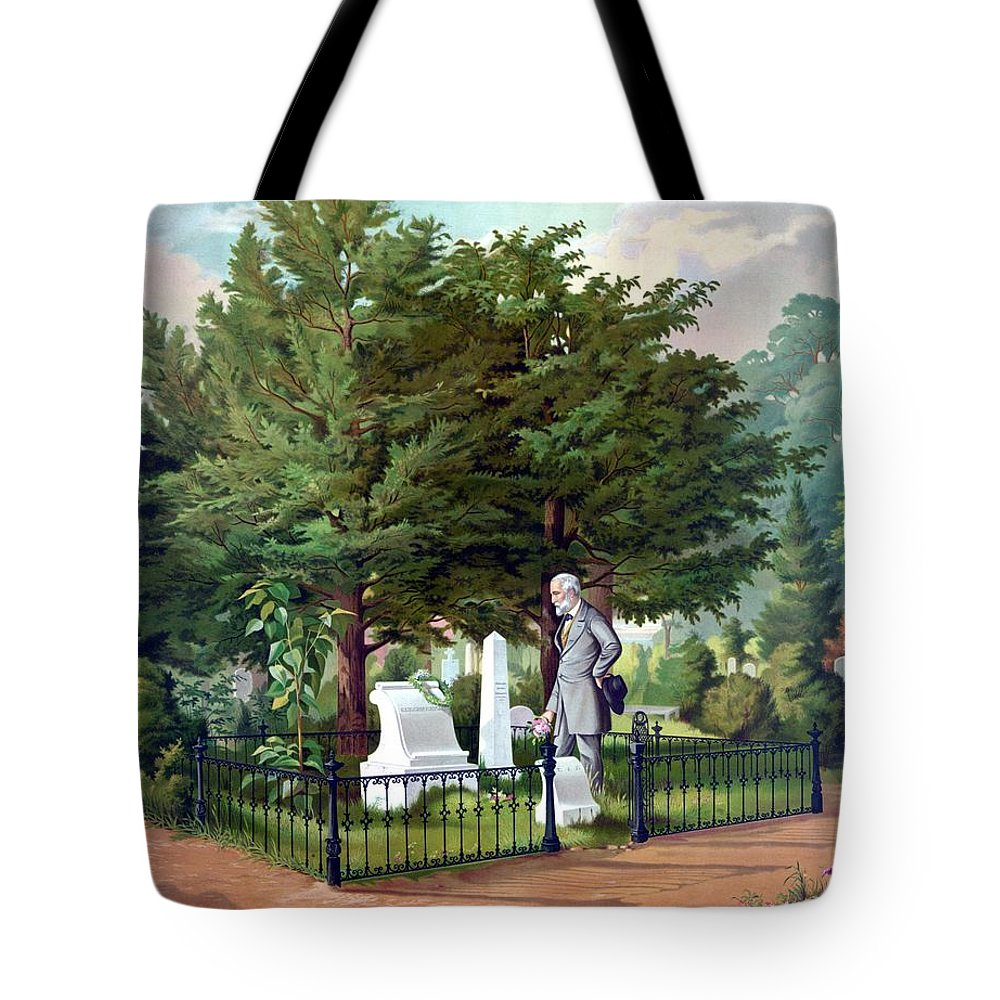 Robert E Lee Tote Bag featuring the painting Robert E. Lee Visits Stonewall Jackson's Grave by War Is Hell Store