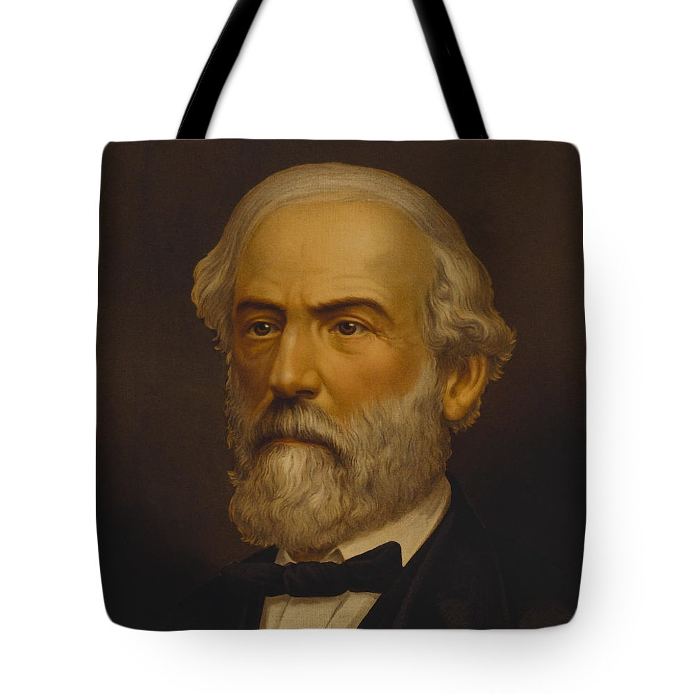 Robert E Lee Tote Bag featuring the painting Robert E. Lee Painting by War Is Hell Store