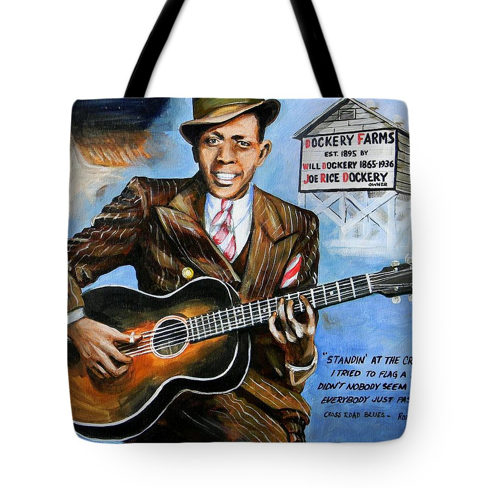 Robert Johnson Tote Bag featuring the painting Robert Johnson Mississippi Delta Blues by Karl Wagner
