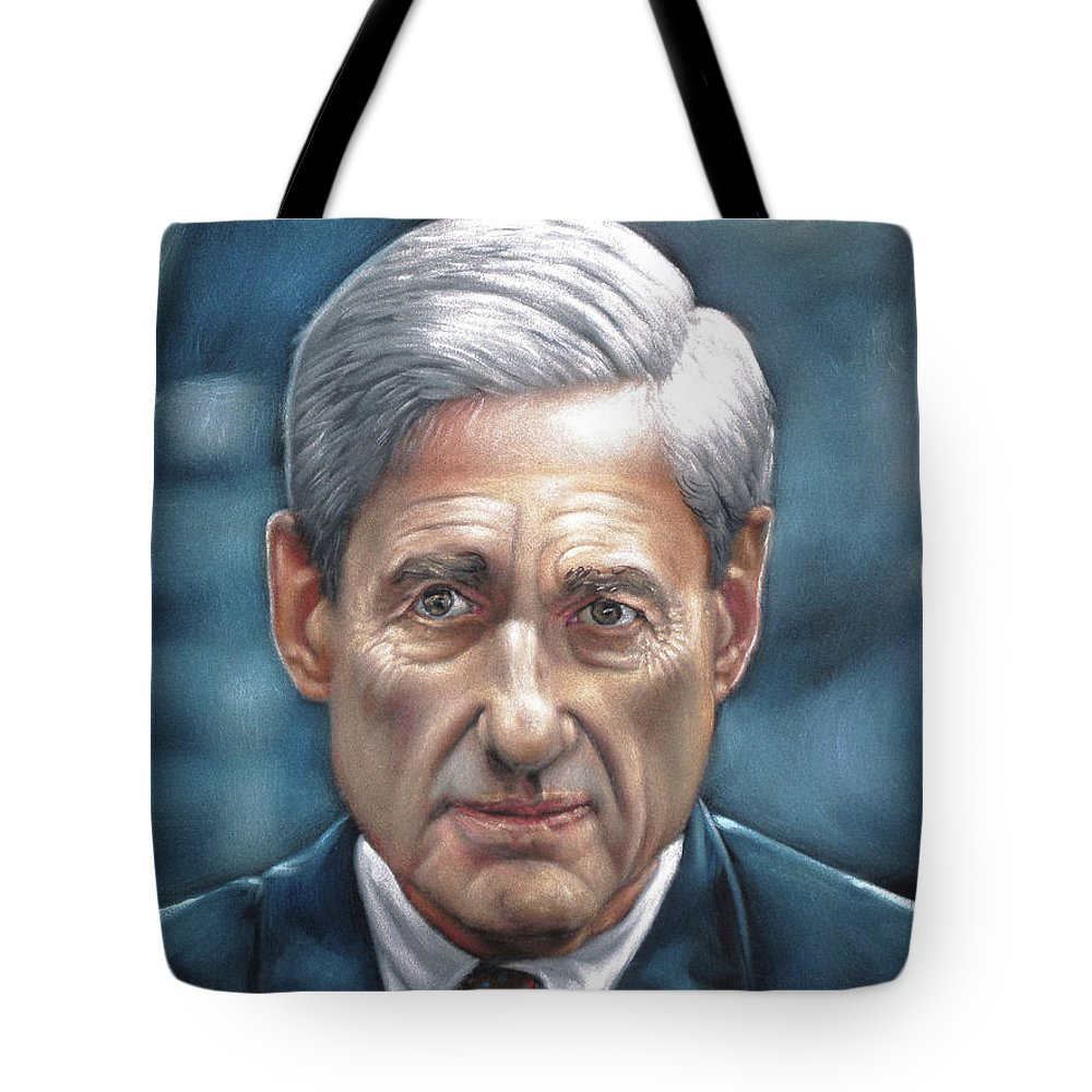 Robert Mueller Portrait Tote Bag featuring the painting Robert Mueller Portrait , Head Of The Special Counsel Investigation by Argo