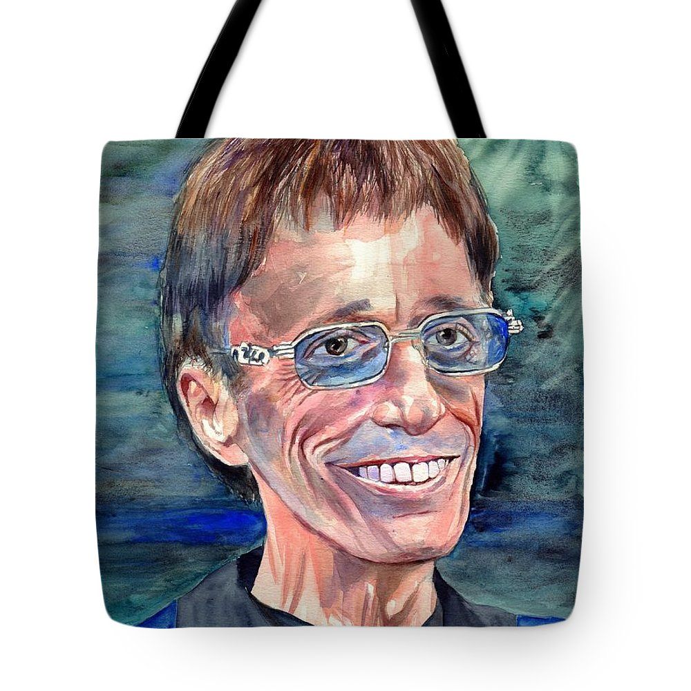 Robin Tote Bag featuring the painting Robin Gibb Bee Gees by Suzann Sines