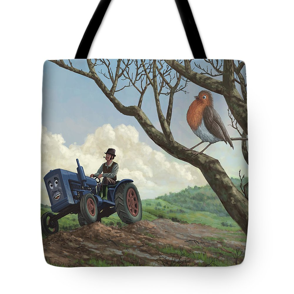 Robin Tote Bag featuring the painting Robin In Field Looking At Farmer by Martin Davey