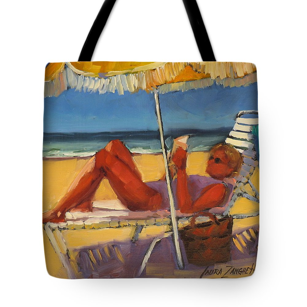 Oil Painting Tote Bag featuring the painting Robin In Her Zone by Laura Lee Zanghetti