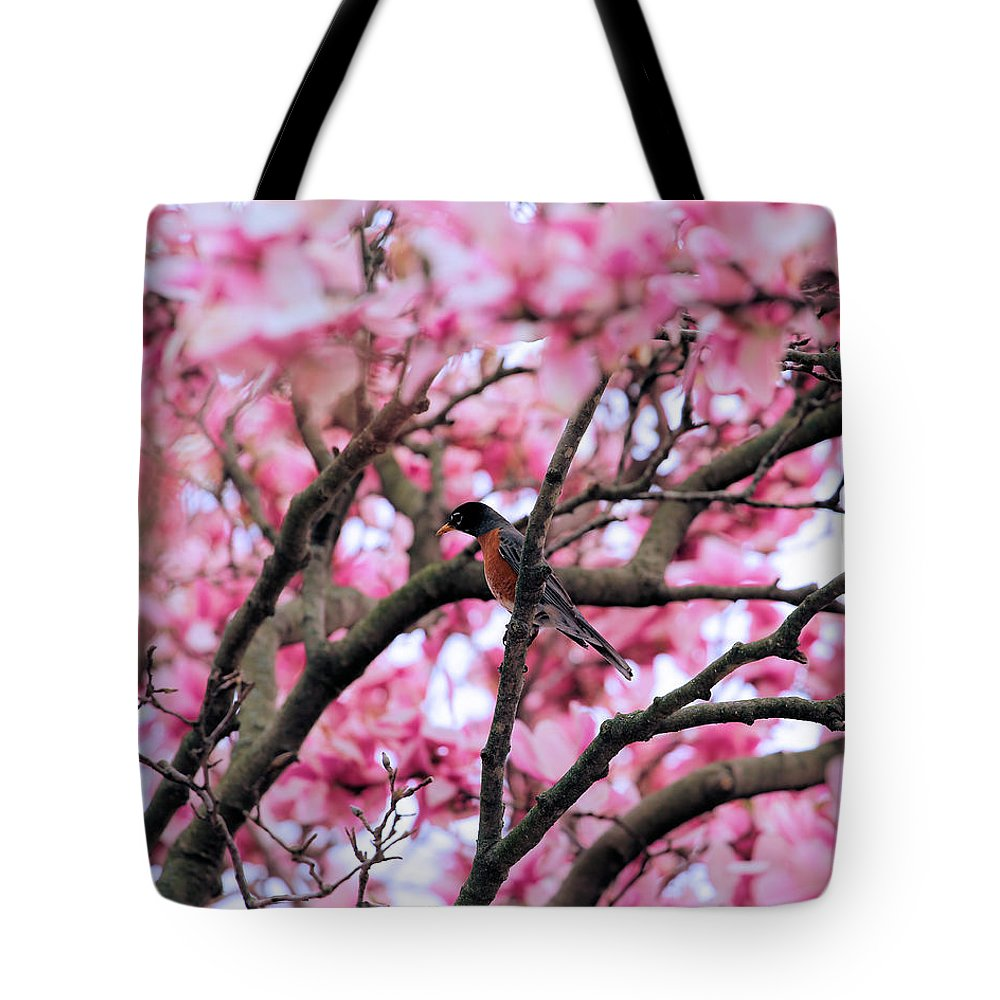 Magnolia Tote Bag featuring the photograph Robin In Magnolia Tree by Theresa Campbell