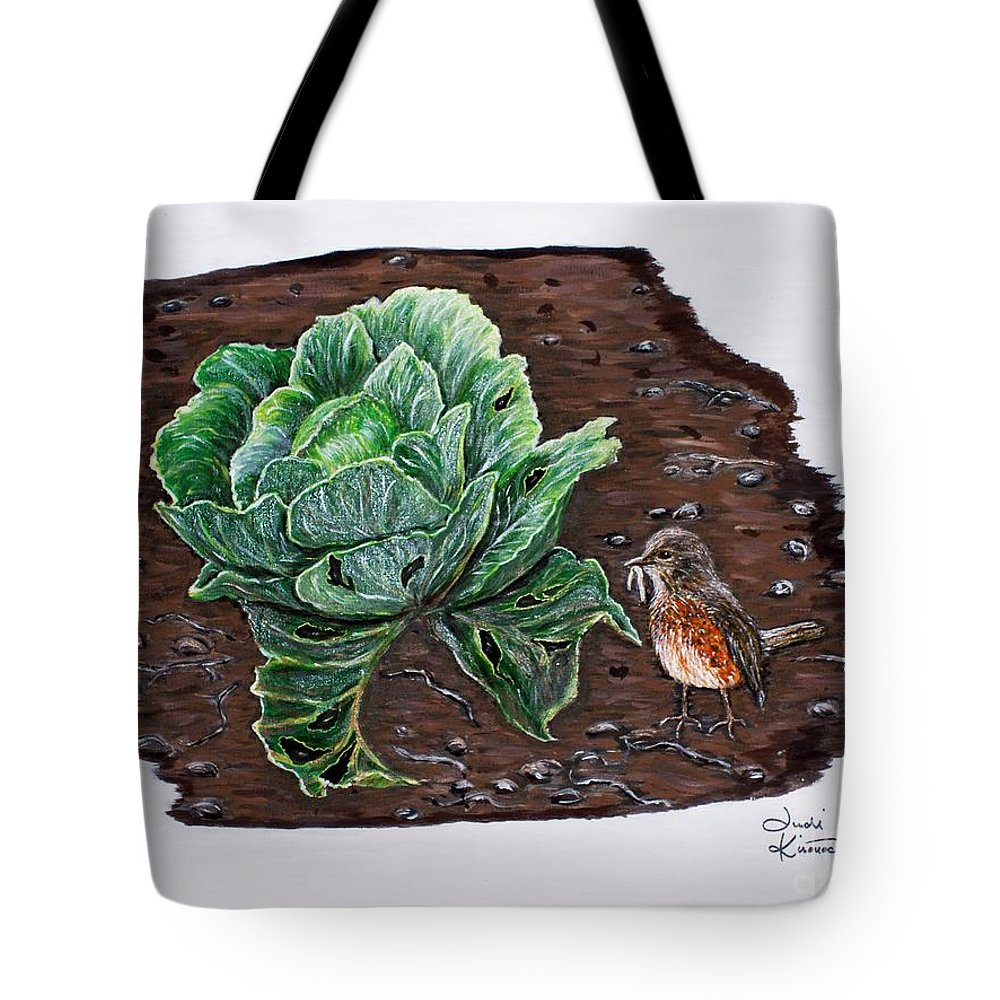 Robin Tote Bag featuring the painting Robin In The Gardin by Judy Kirouac