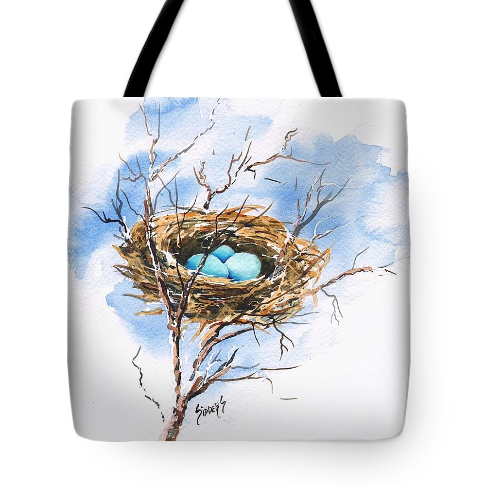 Nest Tote Bag featuring the painting Robin's Nest by Sam Sidders