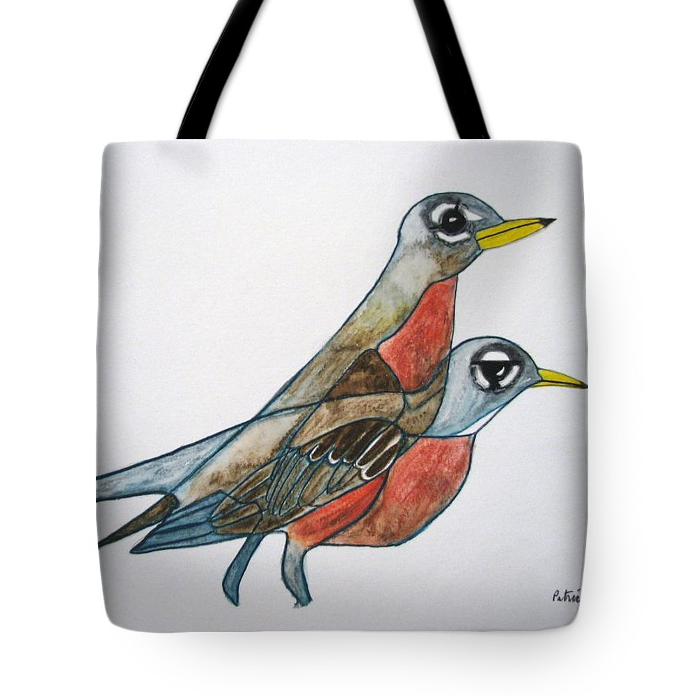 Tote Bag featuring the painting Robins Partner by Patricia Arroyo