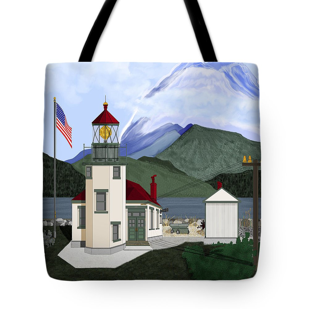 Point Robinson Lighthouse Tote Bag featuring the painting Robinson Point With Mount Rainier by Anne Norskog
