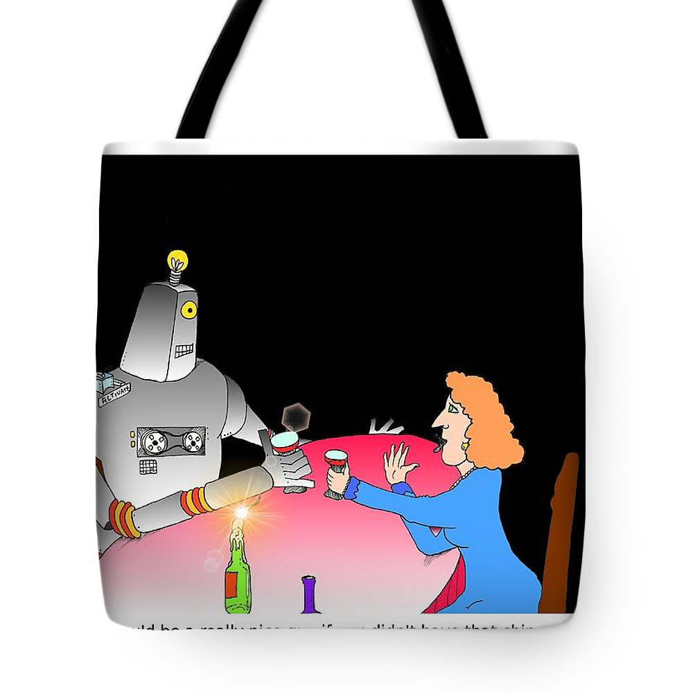 Robot Tote Bag featuring the digital art Robot Dining Cartoon by Grant Wilson