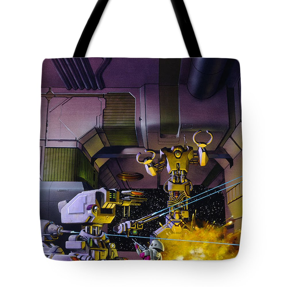 Space Tote Bag featuring the painting Robot Wars by Richard Hescox
