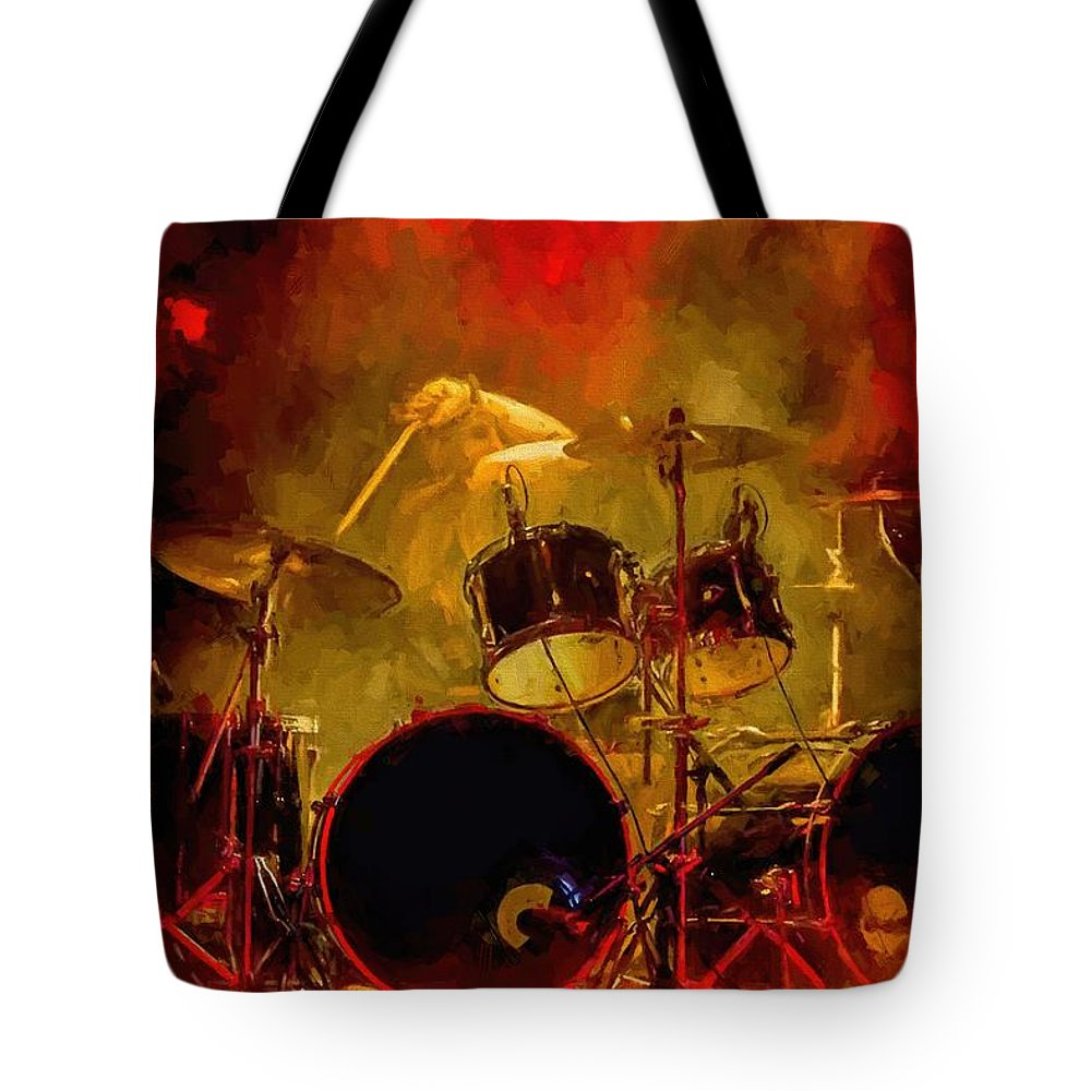 Rock And Roll Drum Solo # Rock And Roll # Drum Set # Rock And Roll Drum Paintings # Abstract Music Art # Zildjian # Drum Solo Painting # Concert # Smoke # Fog # Tote Bag featuring the digital art Rock And Roll Drum Solo by Louis Ferreira