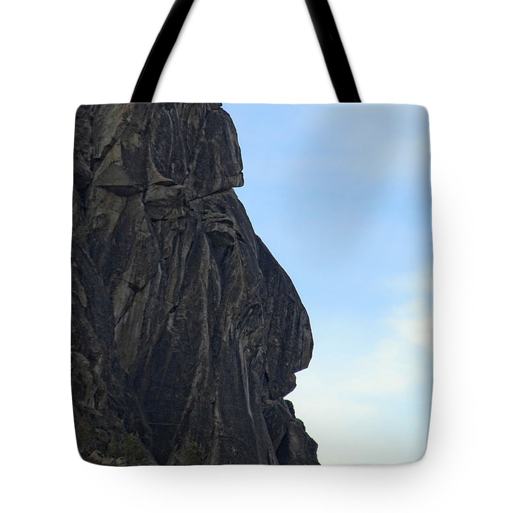 Rock Tote Bag featuring the photograph Rock Face by Donna Blackhall