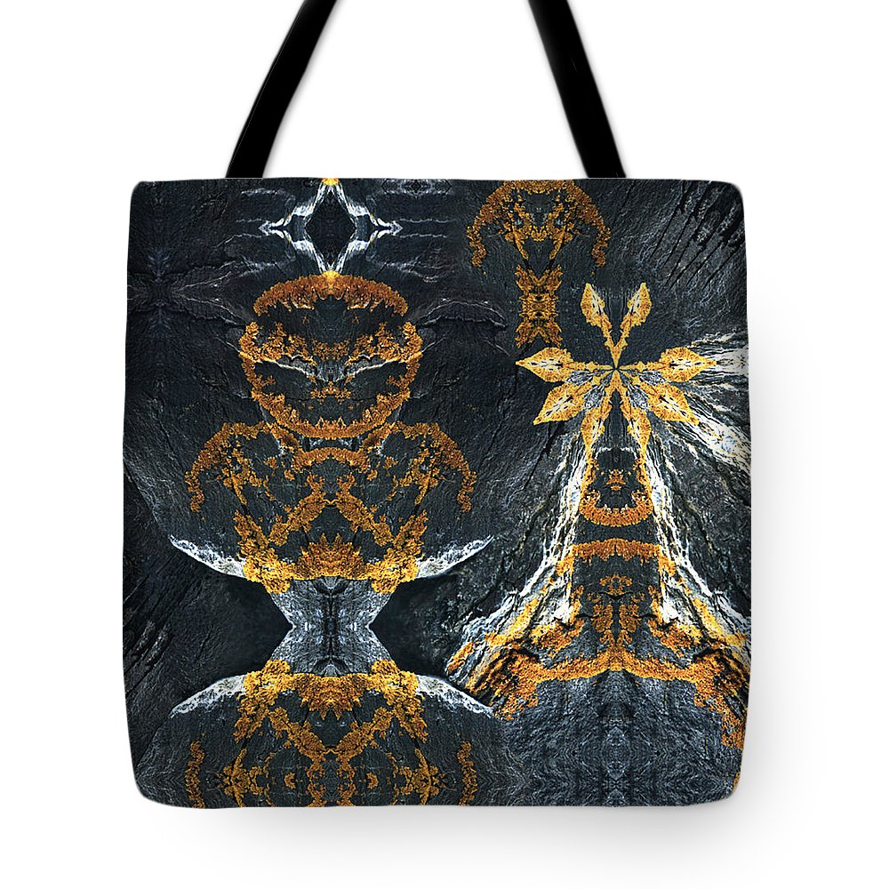 Rocks Tote Bag featuring the digital art Rock Gods Lichen Lady And Lords by Nancy Griswold