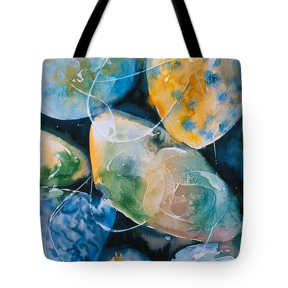 Water Tote Bag featuring the painting Rock In Water by Allison Ashton