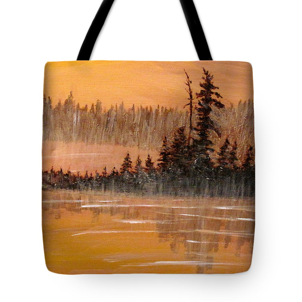 Northern Ontario Tote Bag featuring the painting Rock Lake Morning 3 by Ian MacDonald