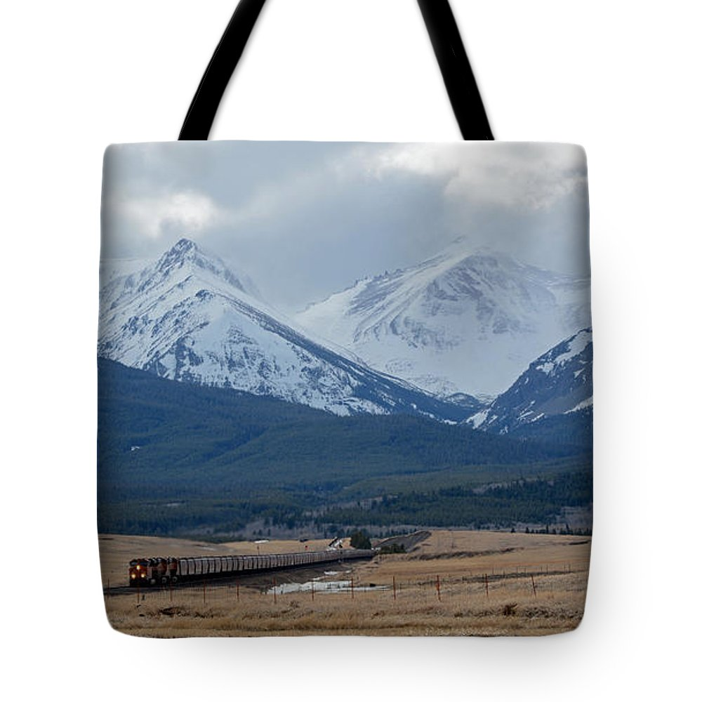 Railroad Tote Bag featuring the photograph Rock Mountain Front- Train by Whispering Peaks Photography
