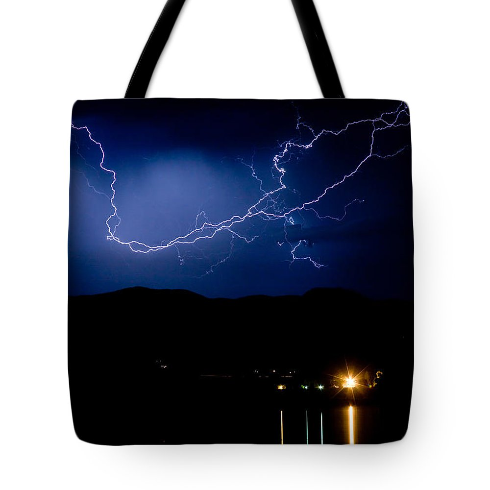 Lightning Tote Bag featuring the photograph Rock Mountains Foot Hills Lightning Storm by James BO Insogna