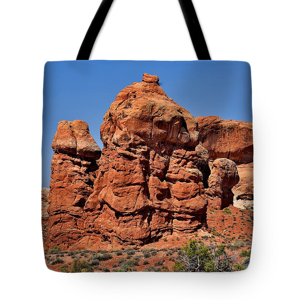 Arches Tote Bag featuring the photograph Rock Pinnacles by Richard J Cassato