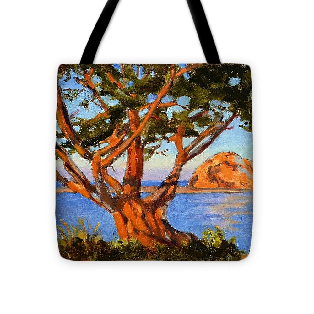 Morro Bay Tote Bag featuring the painting Rock Reflection - Morro Bay by Lynee Sapere