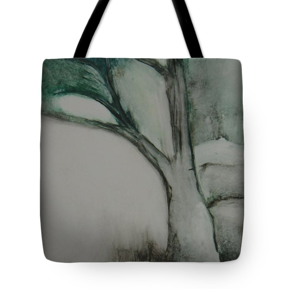Monoprint Tree Rock Trees Tote Bag featuring the painting Rock Tree by Leila Atkinson