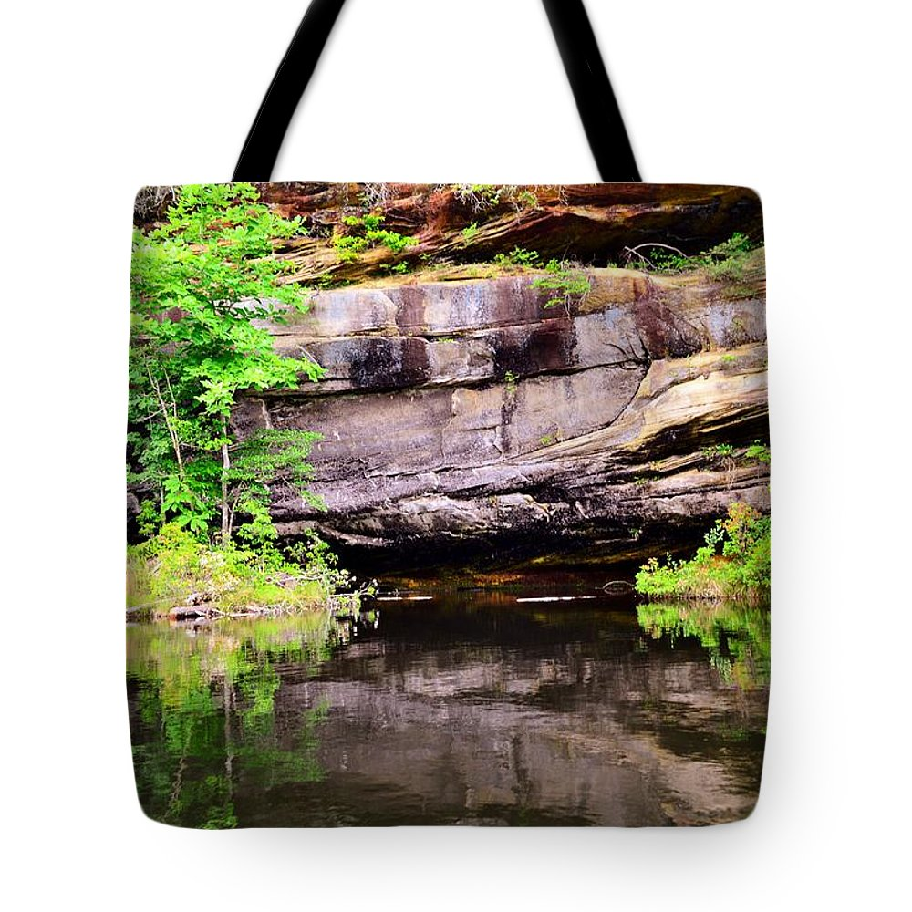 Reflections Tote Bag featuring the photograph Rock Wall Reflections by Stacie Siemsen