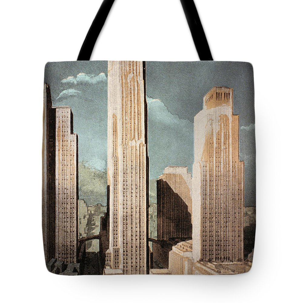 1930s Tote Bag featuring the photograph Rockefeller Center by Granger