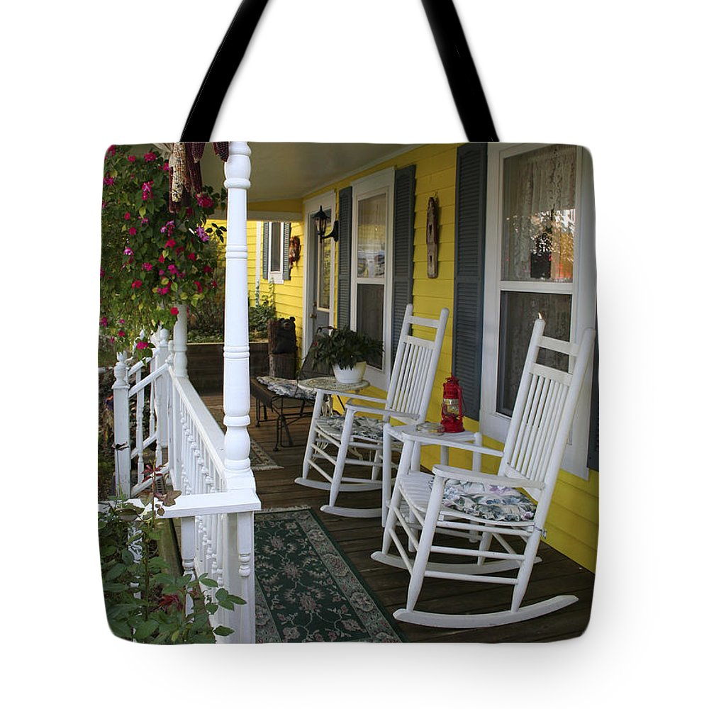 Rocking Chair Tote Bag featuring the photograph Rockers On The Porch by Margie Wildblood