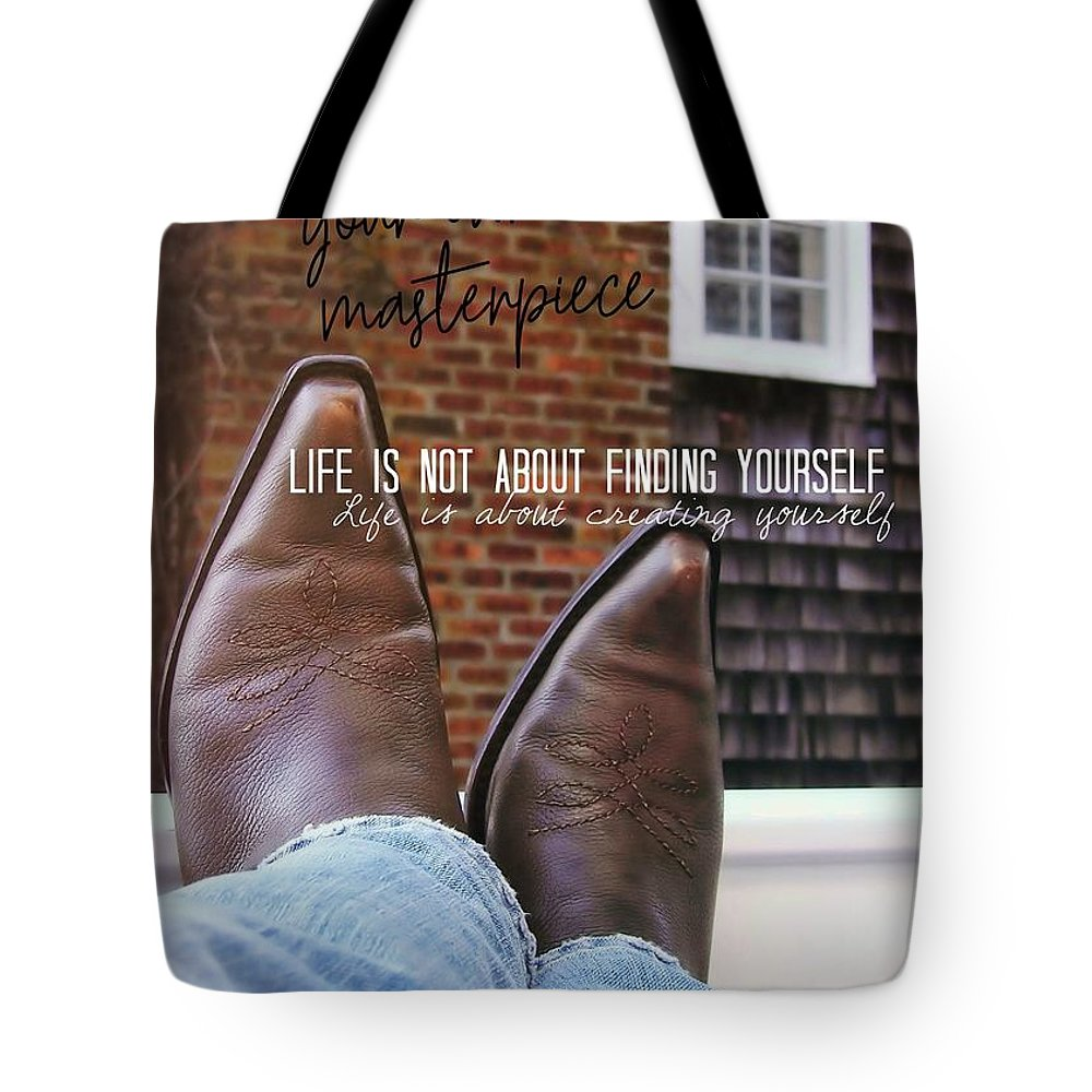Cowboy Tote Bag featuring the photograph Rocking Kicks Quote by JAMART Photography