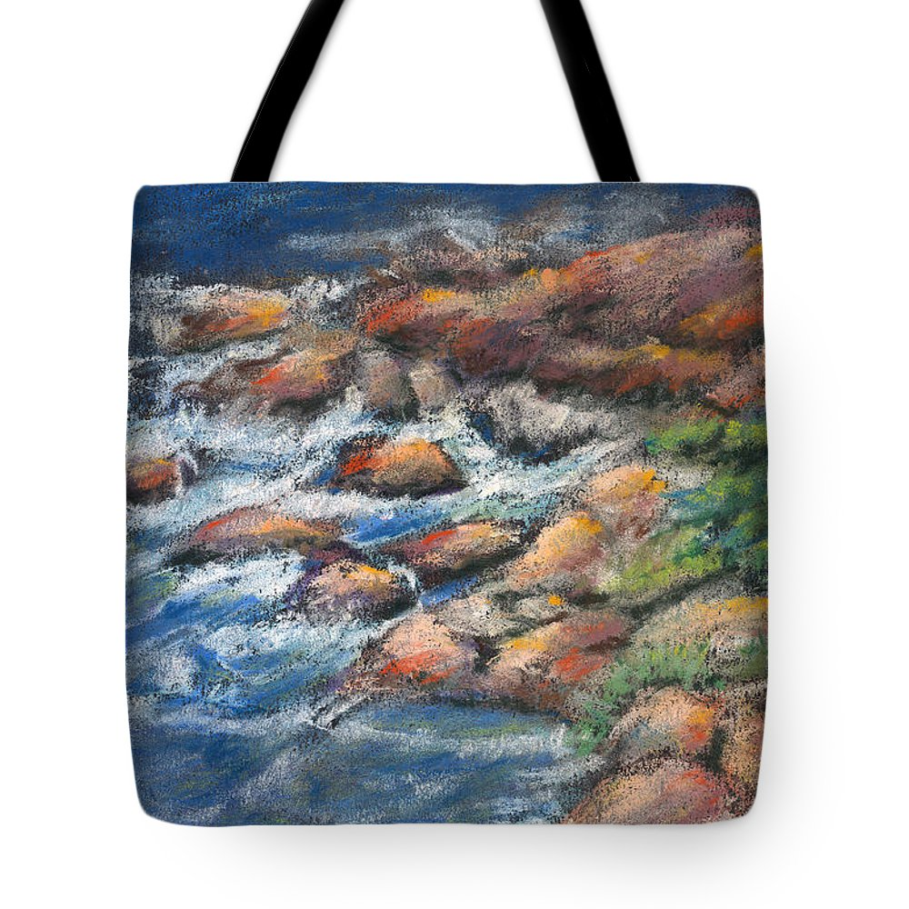 Rocks Tote Bag featuring the pastel Rocks Along The Shore by Arline Wagner
