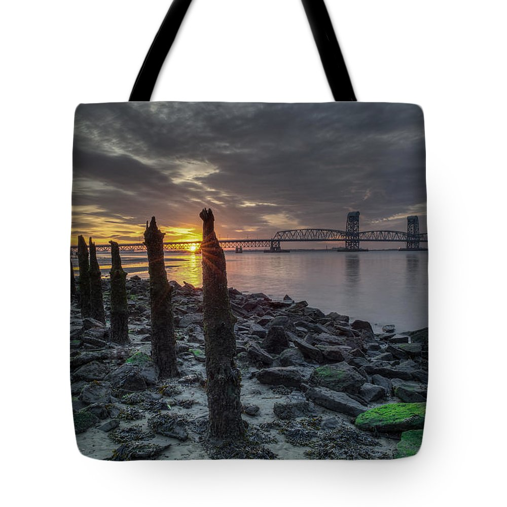 Landscape Tote Bag featuring the photograph Rocks And Bridge by Mike Deutsch