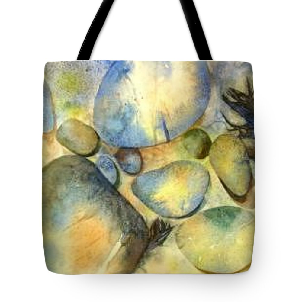 Rocks And Feathers Tote Bag featuring the painting Rocks And Feather by Marlene Gremillion