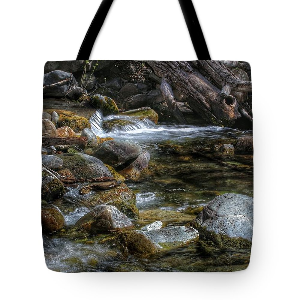 Stream Tote Bag featuring the photograph Rocks And Little Water by Buck Buchanan