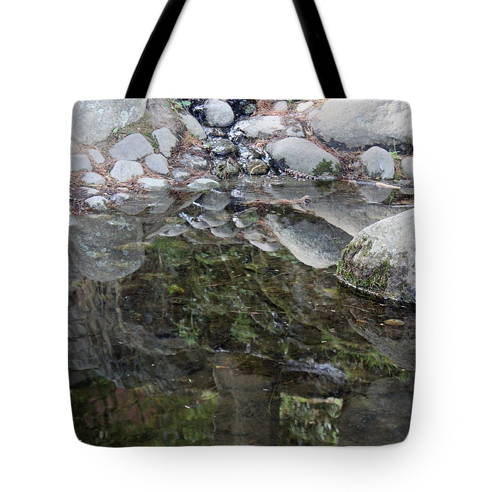 Rocks Tote Bag featuring the photograph Rocks In Reflection by Suzanne Gaff
