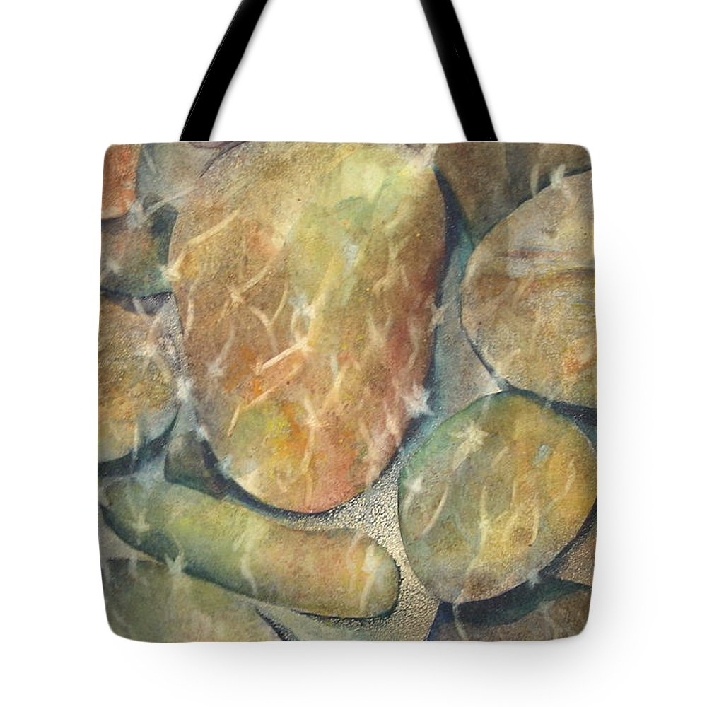 Rocks Tote Bag featuring the painting Rocks In Stream by Marlene Gremillion