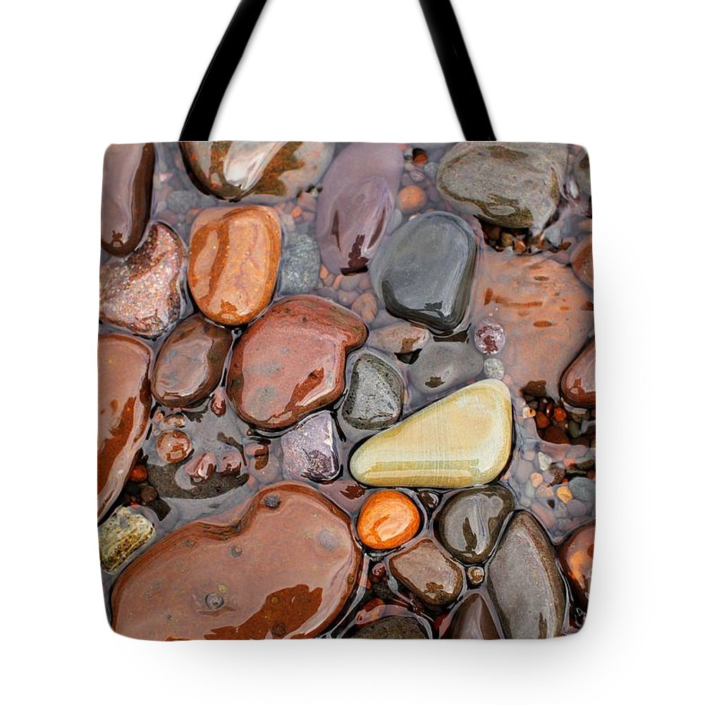 Lake Superior Tote Bag featuring the photograph Rocks Of Lake Superior 12 by Jimmy Ostgard