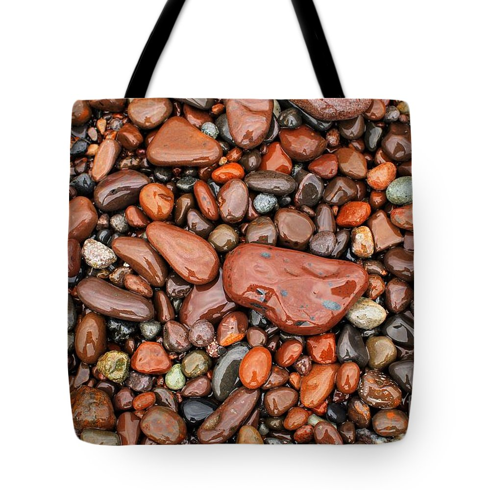 Lake Superior Tote Bag featuring the photograph Rocks Of Lake Superior 13 by Jimmy Ostgard