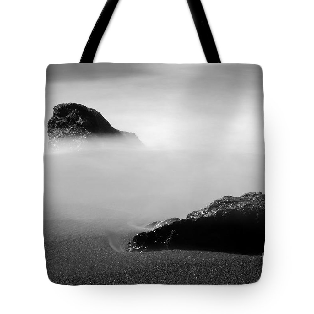 Water Tote Bag featuring the photograph Rocks On Beach by Catherine Lau